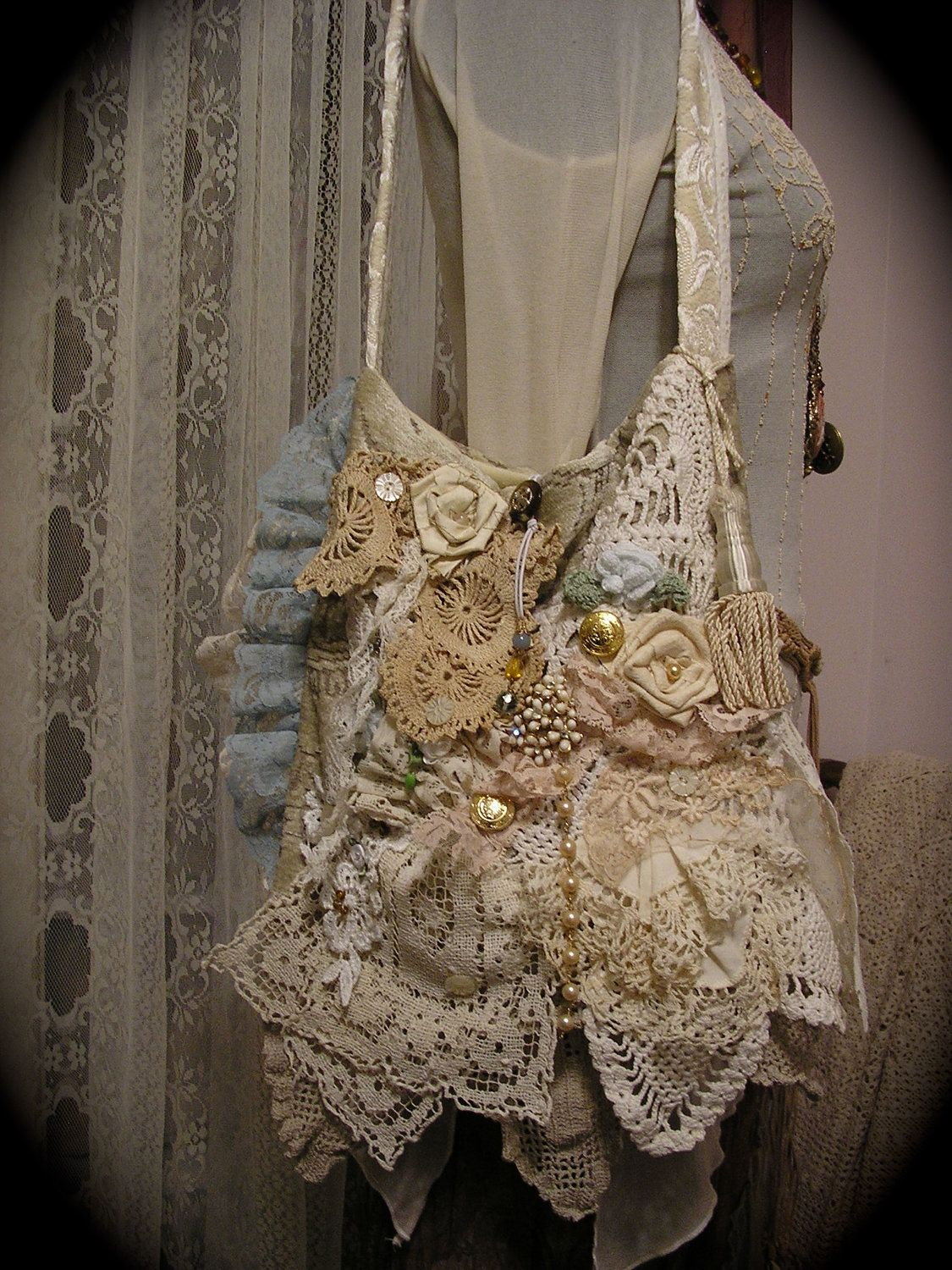 White lace texture bridal layered ruffled - Victorian Gypsy Bag Handmade Shabby Romantic Layers Ruffled Laces Doilies Ivory Creme