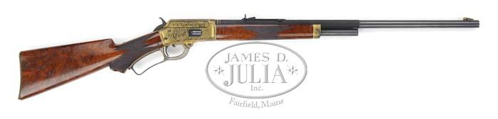 """""""MARLIN MODEL 1889 LEVER ACTION RIFLE. SN 87609. Cal. 38 WCF (38-40). Spectacular 1893 Chicago World's Fair Model 1889 rifle with 24"""" oct to rnd bbl, half magazine, German silver Rocky Mtn."""