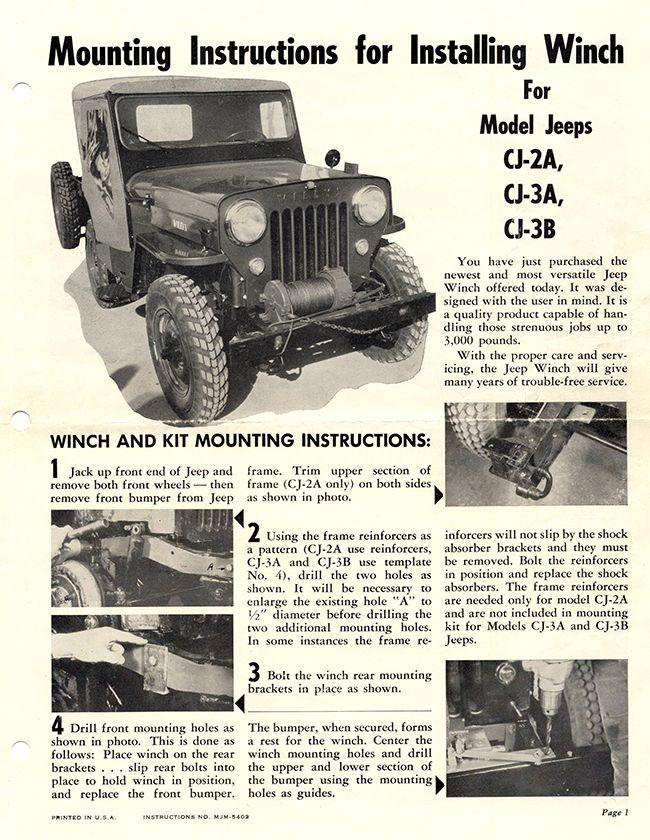 1950s cj3b winch installation directions lores1 willys jeep rh pinterest com Willys CJ5 Willys Flat Fender