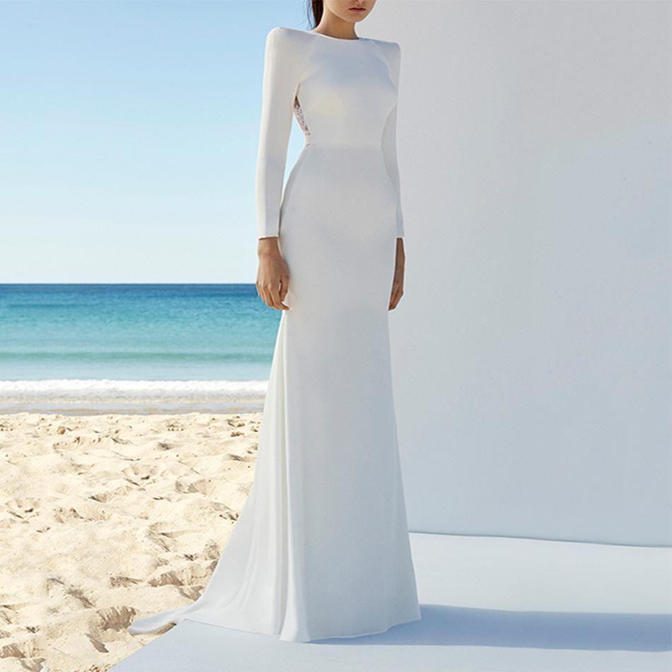 Shop Women\'s White Long Sleeve Bandage Gown   White long sleeve ...