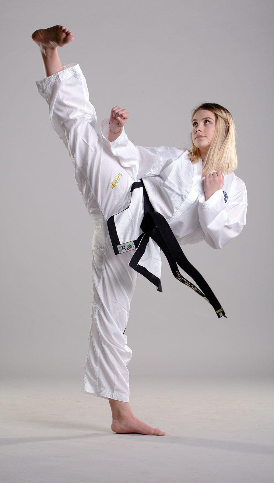 Top Ten Itf Assistant Instructor Uniform Premium Gold Dobok White Black White Black 3 Assistant White Black Women Karate Martial Arts Women Karate Girl
