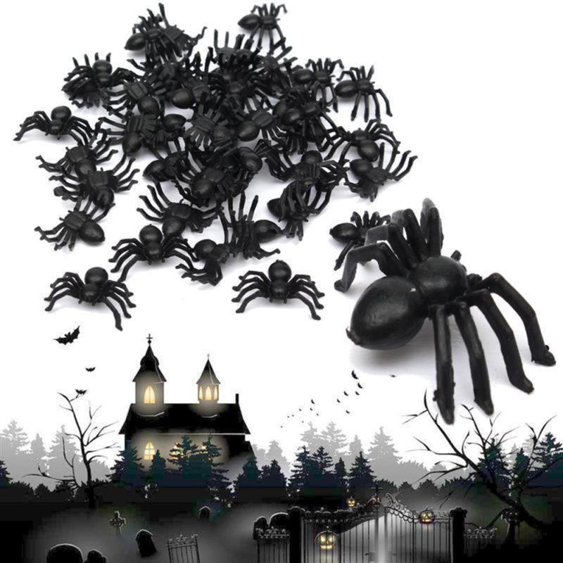 50pcs Plastic Black Spiders Halloween Decoration Prop Trick Party - halloween decorations spider