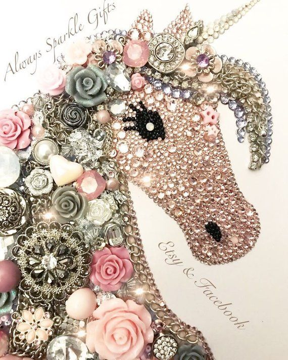 Custom order your own Beautiful sparkling jewellery ( jewelry) Unicorn Button and mixed media art framed art Nursery Decor any colour choice #unicorncrafts