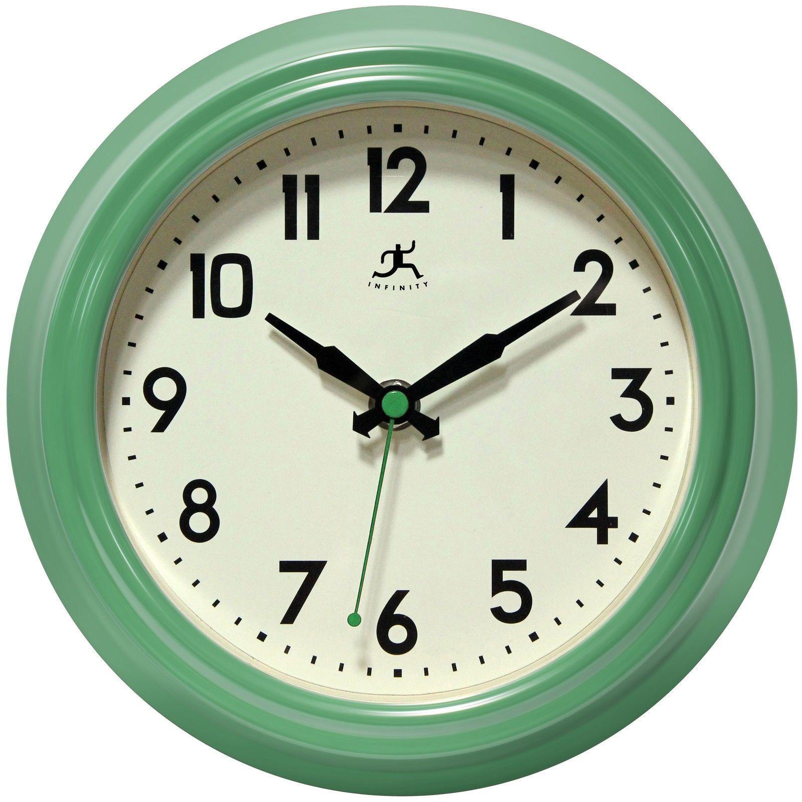 Green Kitchen Wall Clock Round Gl Face Quartz Battery Ed Home Decor