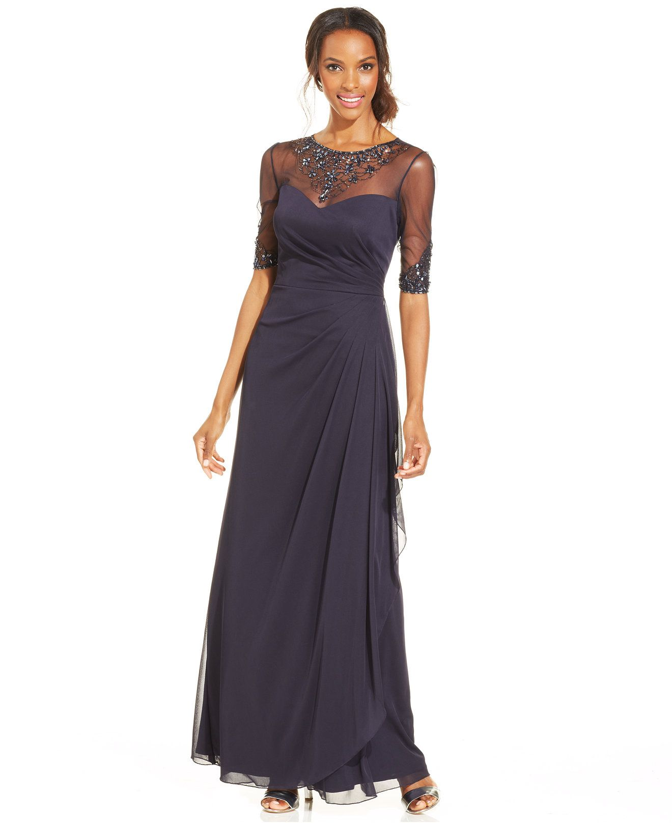 Patra Embellished Illusion Draped Gown Dresses Women Macys