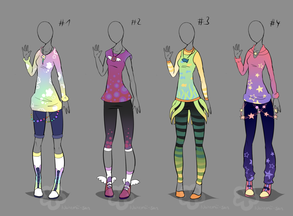 Color Outfit Adopts Sold By Nahemii San On Deviantart Colourful Outfits Clothes Design Costume Design