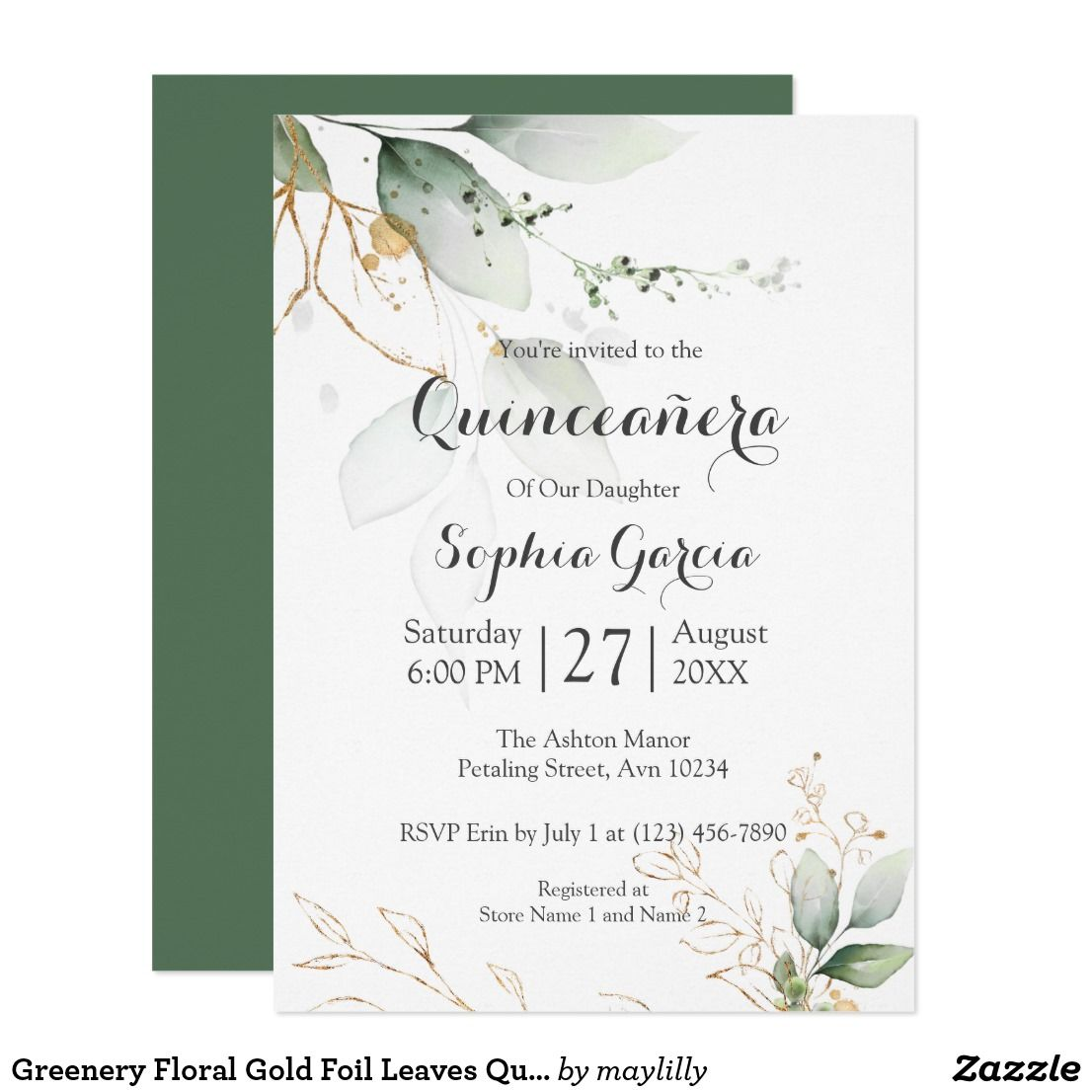 Editable Templett Template PEO005 Greenery Wedding Invitation INSTANT DOWNLOAD Gold Foil Leaves Green and Gold Basic Wedding Invite