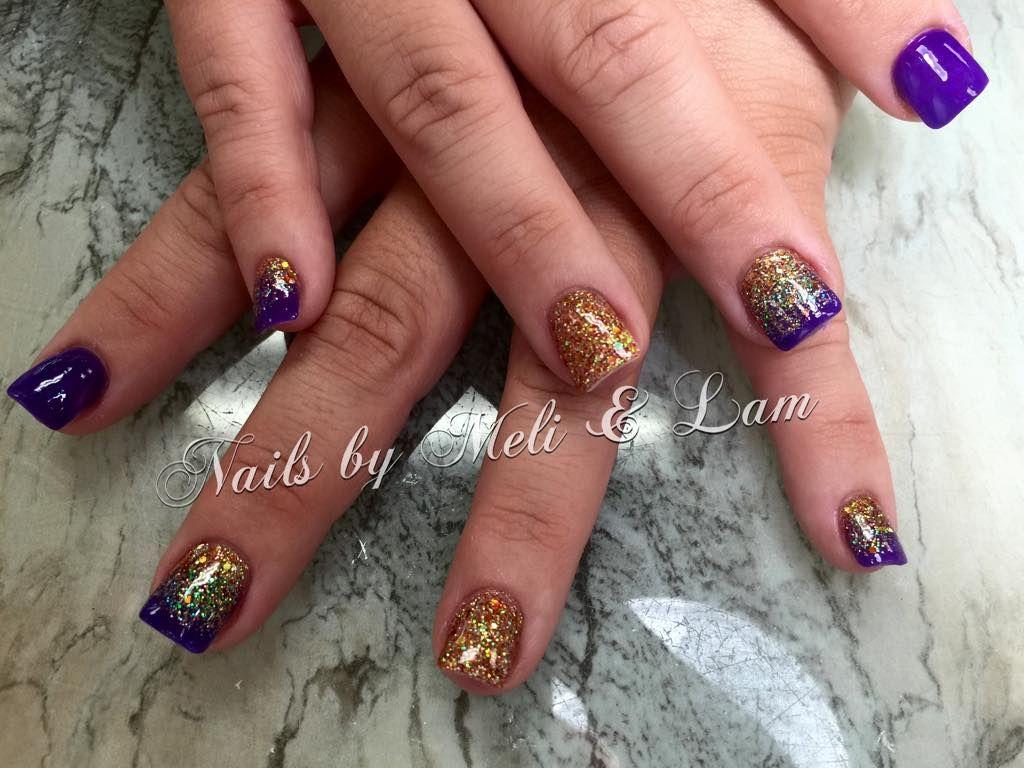 lsu nails, purple nail art, gold nail art, purple and gold nails ...