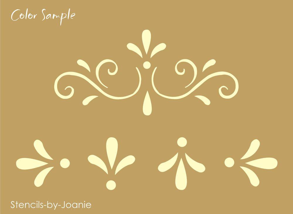 Details About Joanie Stencil Fancy Scroll Folk Art Swirl