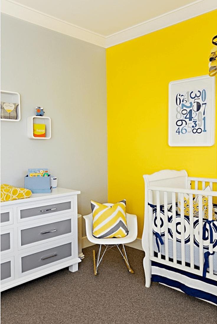 Peinture Chambre Bébé Jaune Et Gris 23 ways to create a more colorful nursery | peinture chambre