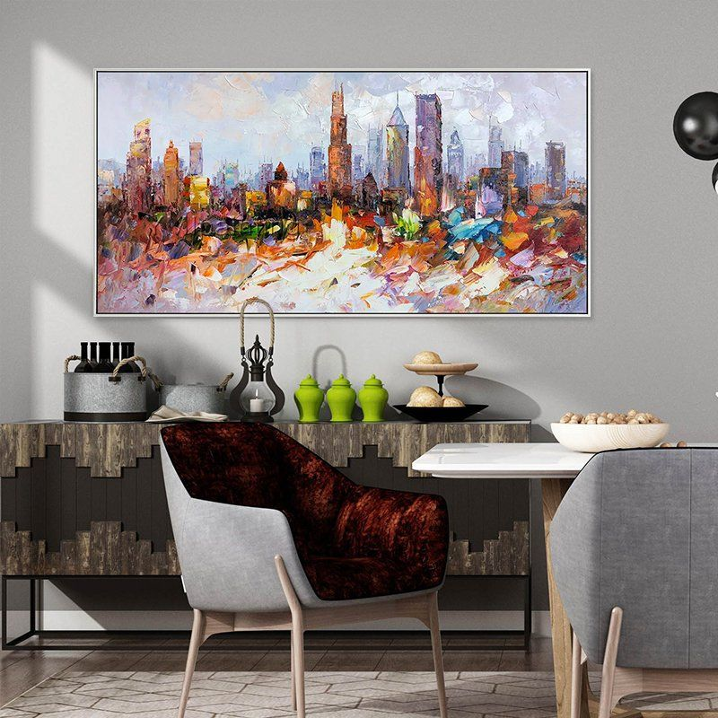 Chicago Skyline Oil Paintings Framed Wall Art Cityscape In 2020 Cityscape Painting Oil Painting Frames Canvas Painting