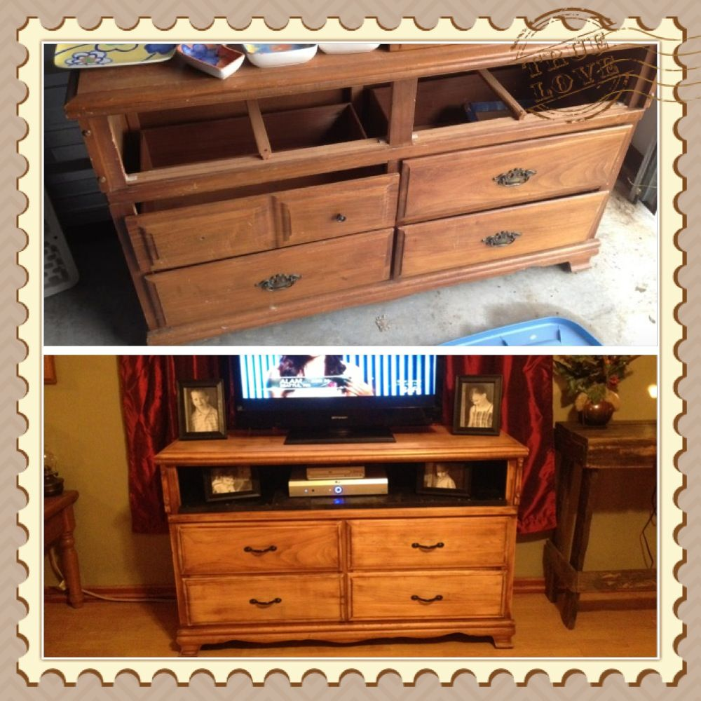 Old ugly dresser revamped into tv stand :)