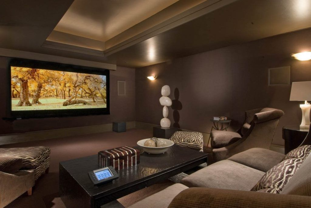 Media Room Paint Home Theater Contemporary With Chocolate Brown