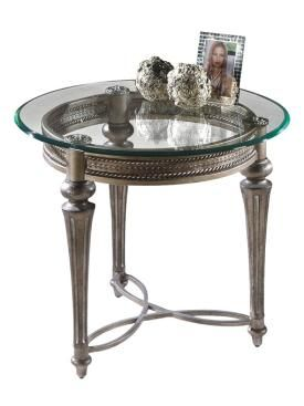 Galloway Traditional Subtle Gold Gl Cast Resin Round End Table