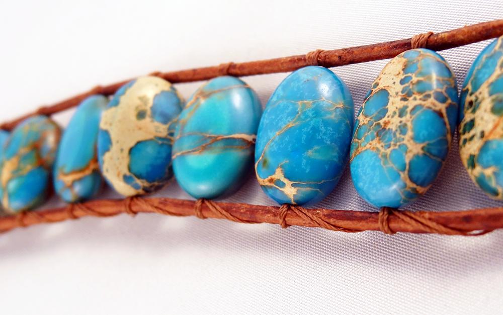 Turquoise Aqua Terra Jasper Brown Leather Cuff Bracelet #jasper #southwestern
