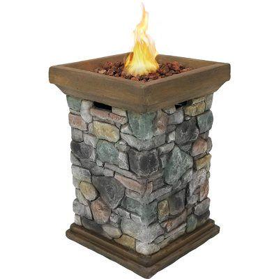 Sunnydaze Outdoor 30 Inch Tall Cast Rock Column Design Propane Gas Fire Pit Gas Firepit Outdoor Propane Fire Pit Propane Fire Pit Table