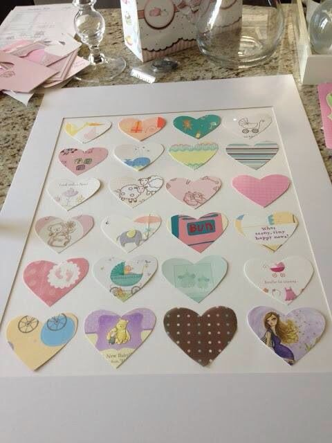 Cut out birthday cards from baby shower and hang them. Great idea for birthday or Christmas