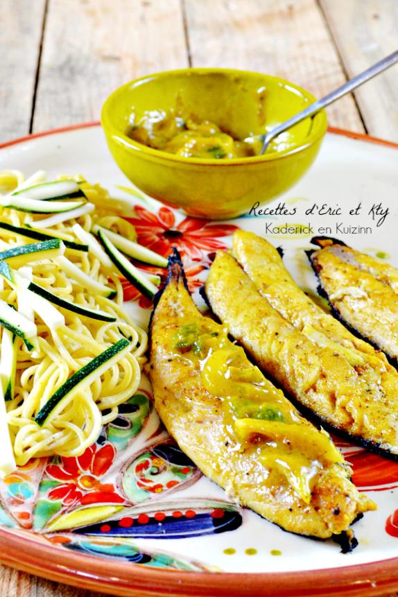 Maquereaux plancha sauce ananas et curcuma  Comida