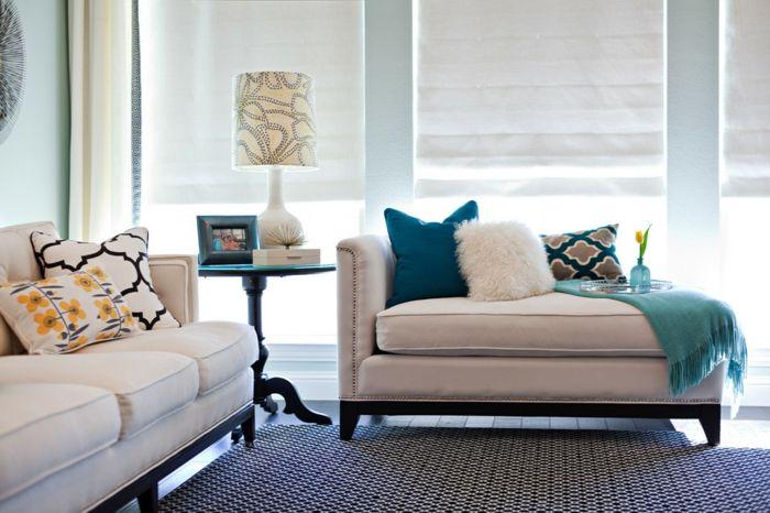 tolle wohnzimmer deko für die couch mit kissen in ... - Wohnzimmer Deko Farben