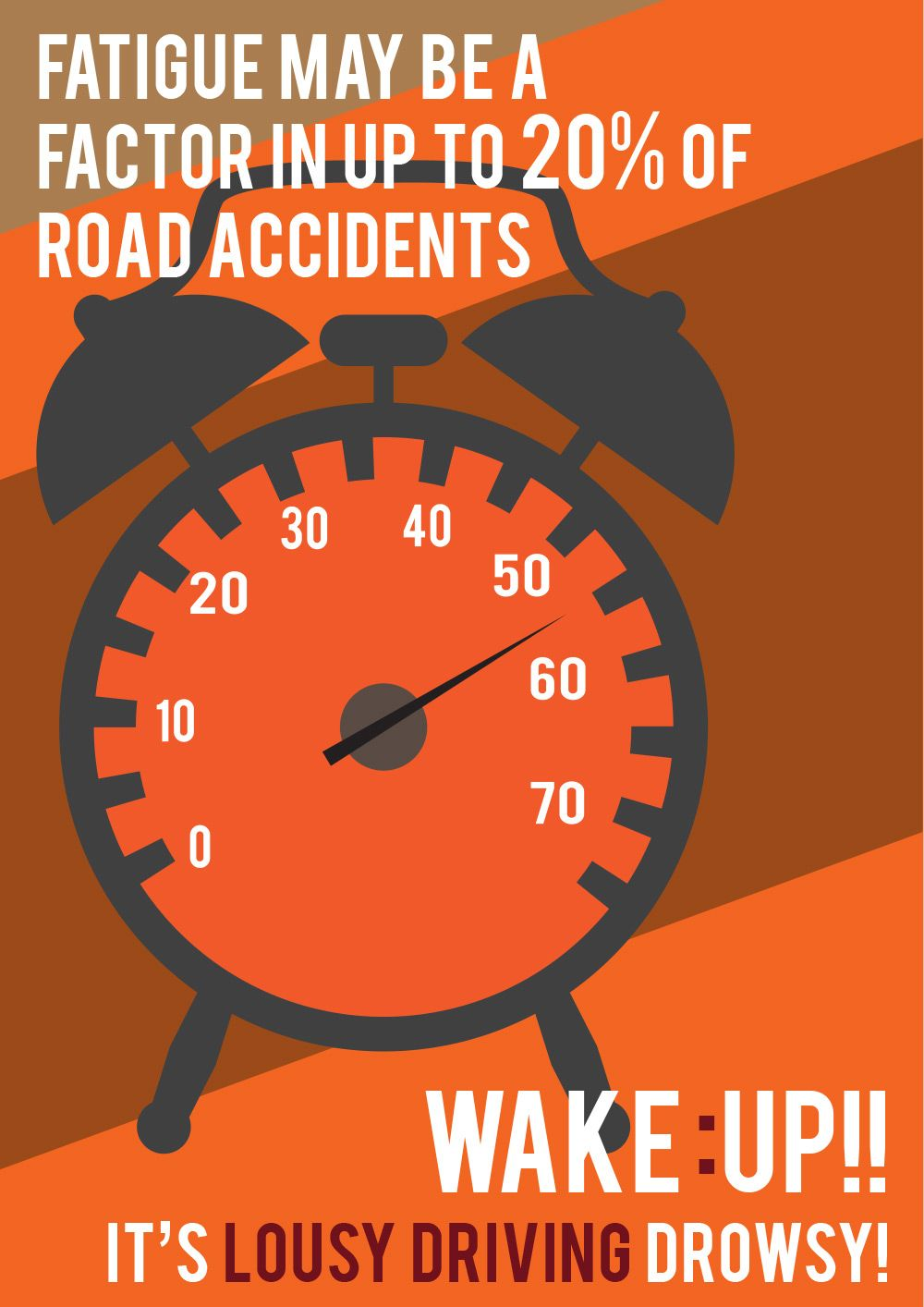 Driving whilst fatigued. Road safety poster, Safety