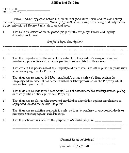 Affidavit Of No Lien Template  Business Legal Forms