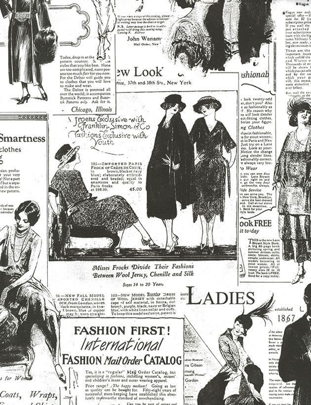 VintageRetroFashionNewspaperWallpaperBlackWhite
