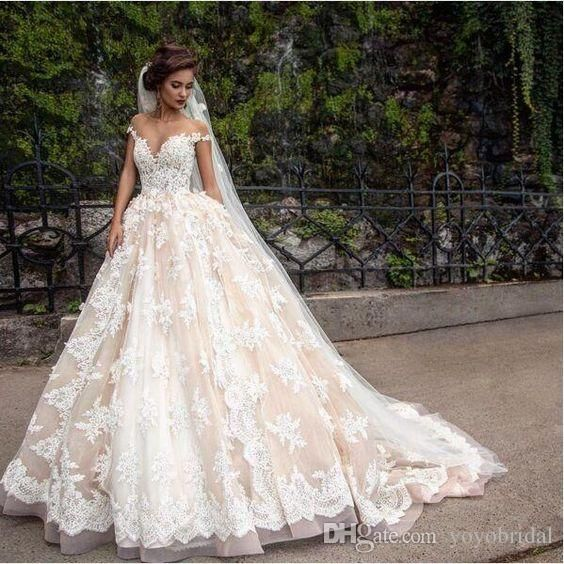 Luxury Ivory Champagne Arabic Wedding Dress Ball Gown Off The Shoulder Straps Lace Pleated Chapel Train