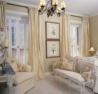 Shutters with window drapes living room design inspiration - Shutters for decoration interior ...