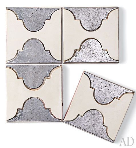 """Part of the La Terre collection, Royalty 7 4.75""""-sq. tiles by Exquisite Surfaces create a graphic pattern with pewter-inlaid glazed terra-cotta; other colors available. From $25 per tile; xsurfaces.com, 800-970-9798"""