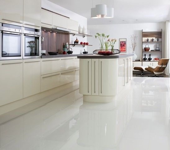 Polished white floor tile m crazy or good idea for Pictures of floor tiles for kitchens