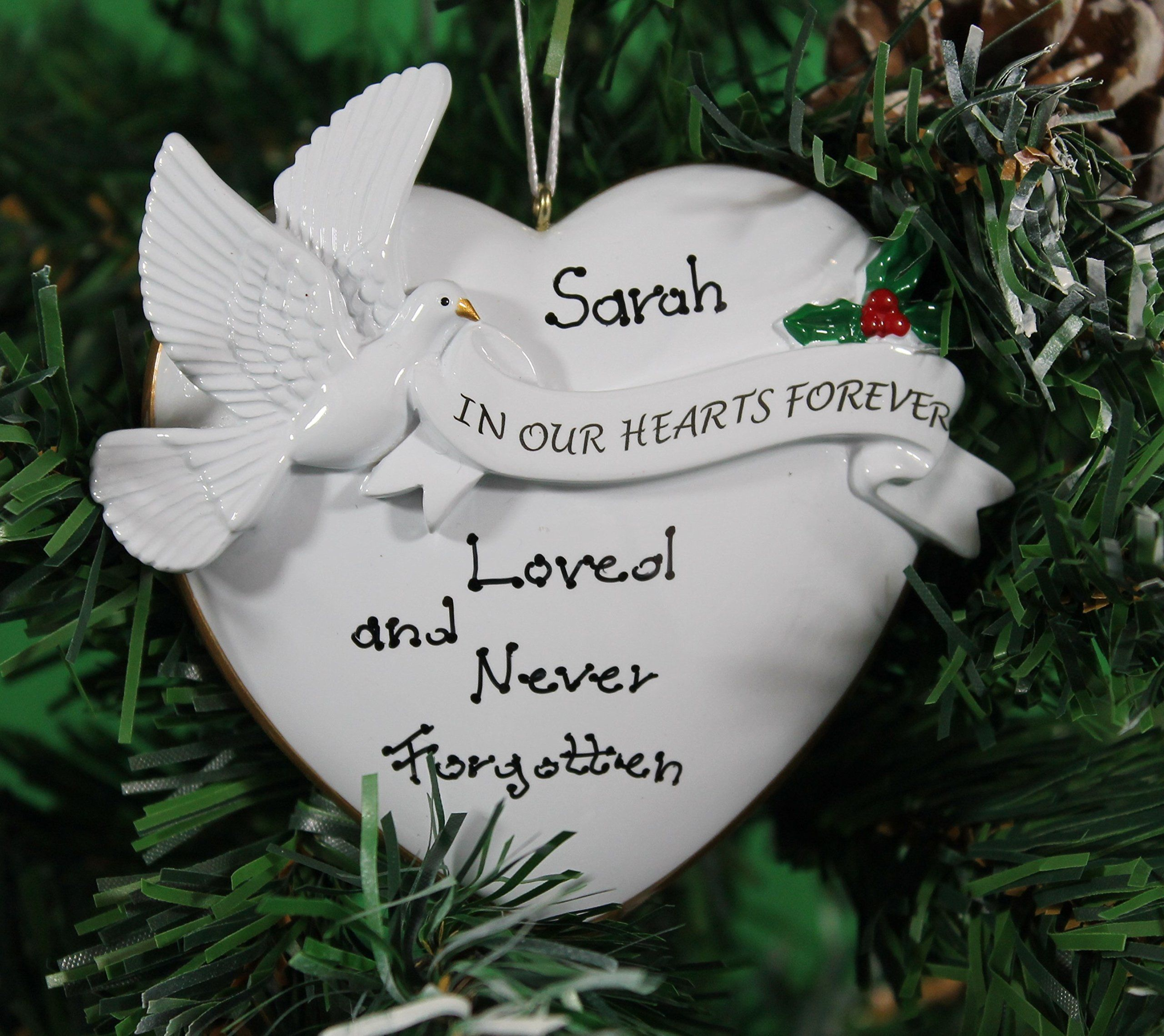 personalized christmas tree decoration ornament in our hearts forever memorial celebrate the memory of