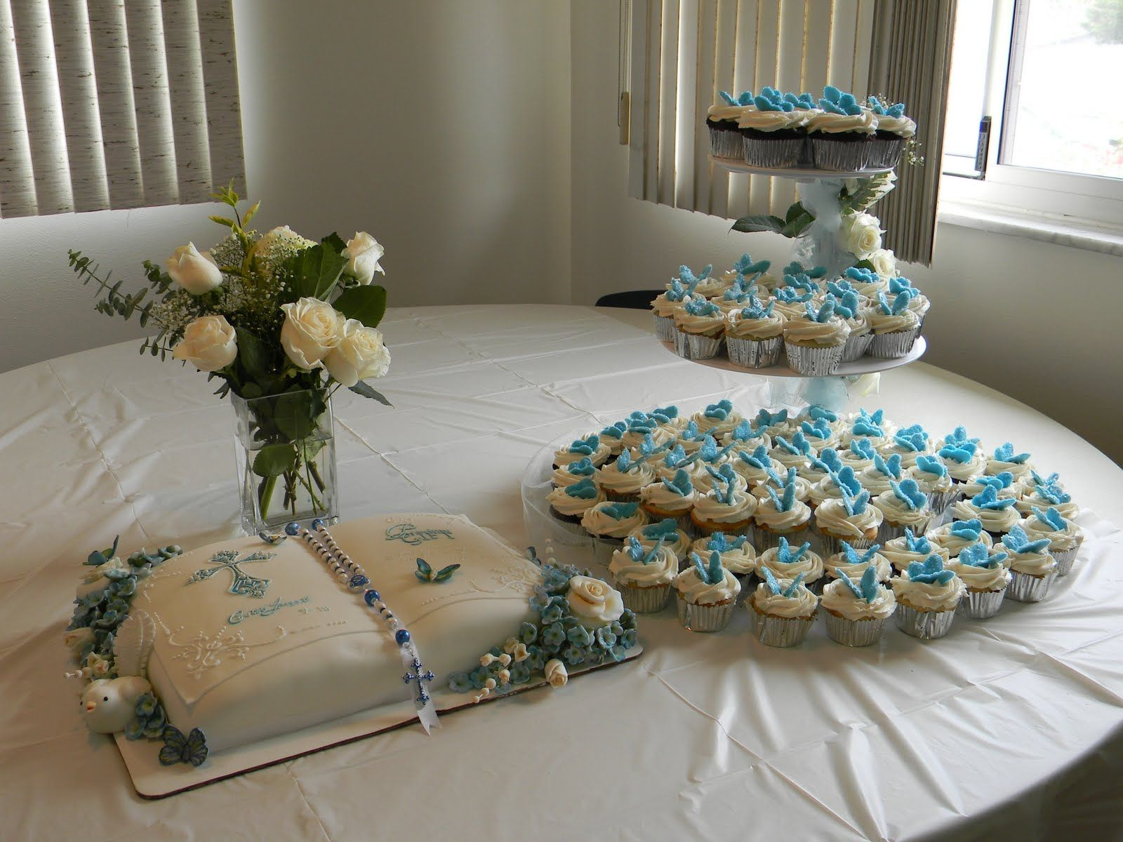 Couture Cakes By Angela Baptism Reception Cake Table Baptism Table Decorations Christening Table Decorations Baptism Table Centerpieces