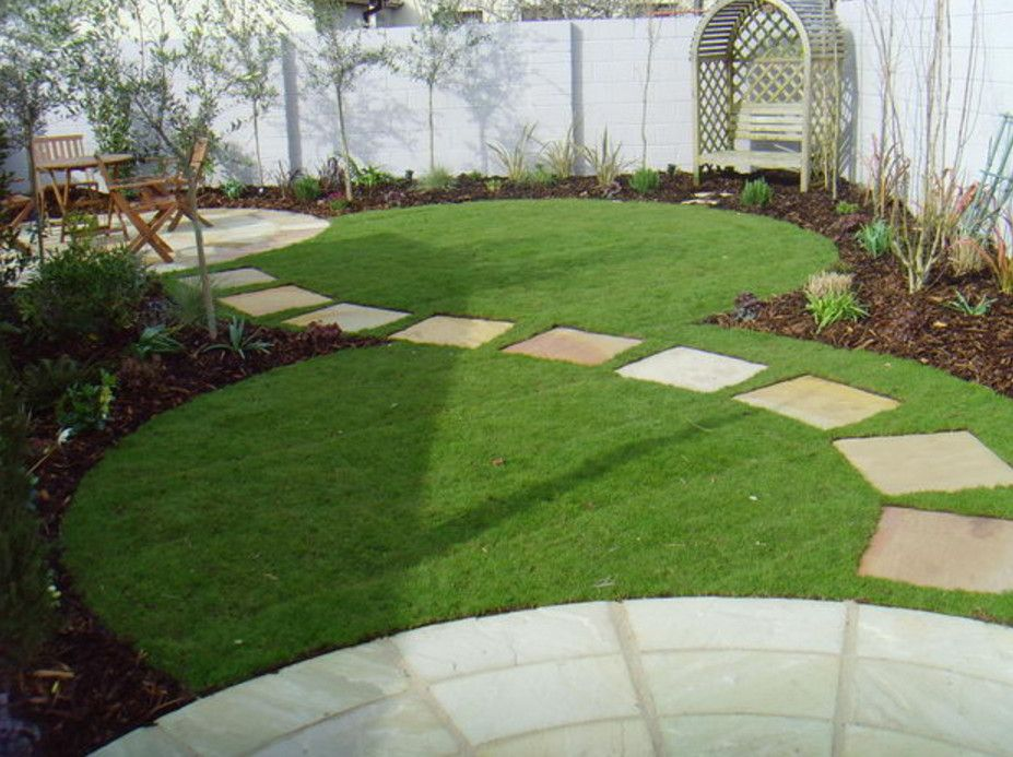 Stepping stone walkway ideas landscaping pinterest for Small round garden design
