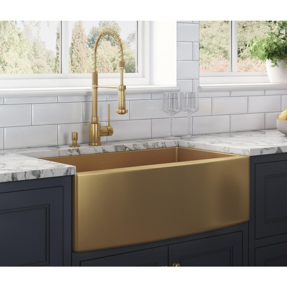 Ruvati Farmhouse Apron Front Stainless Steel 36 In Single Bowl Kitchen Sink In Brass Tone Matte Gold Rvh9880gg The Home Depot In 2020 Farmhouse Sink Kitchen Single Bowl Kitchen Sink Gold Kitchen