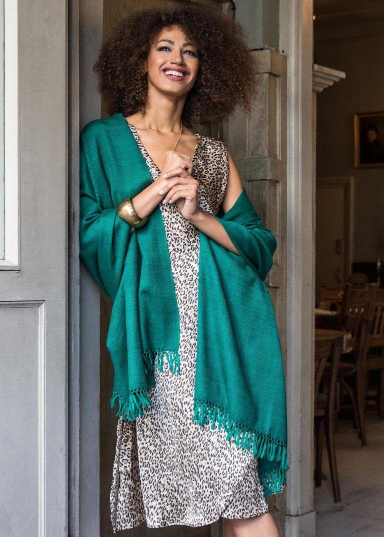 9b781749c Herringbone Handloom Merino Wool Pashmina Scarf Emerald 200 X 72cm ...