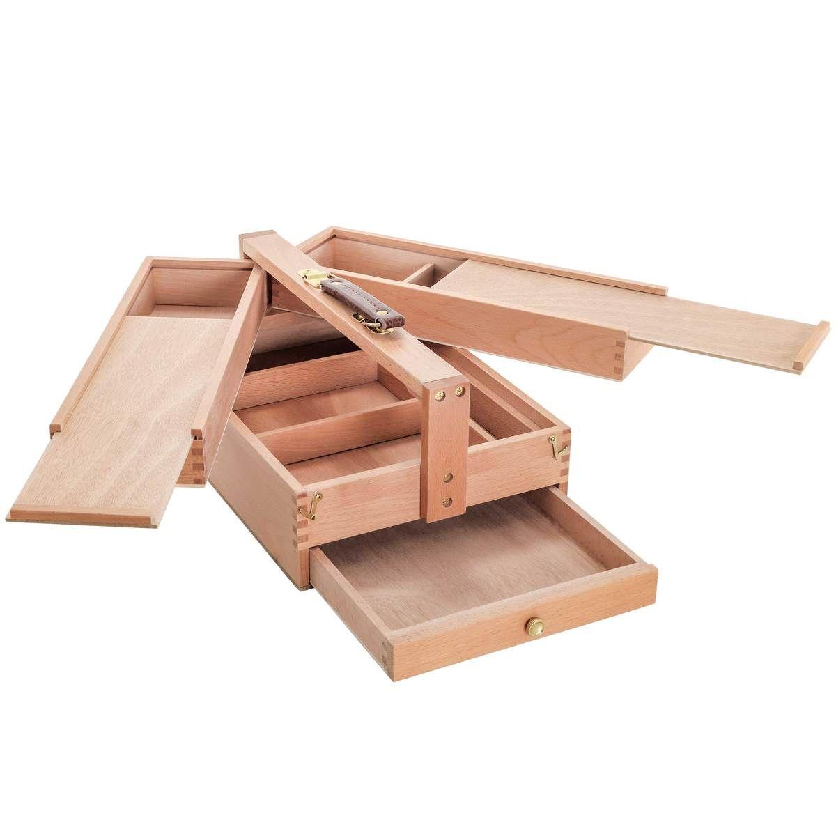 Large Multi Function Wooden Artist Tool Brush Storage Box In