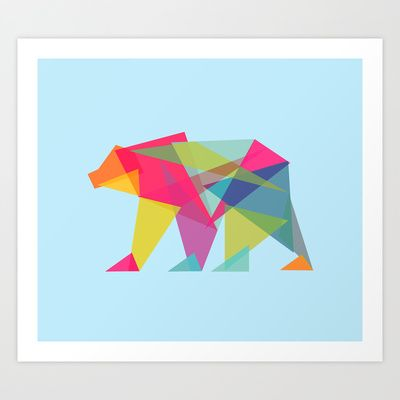 Fractal Bear - neon colorways Art Print by Budi Satria Kwan - $19.97