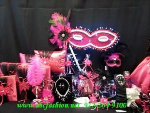 Quinceanera Centerpiece Mask or Masquerade Theme in Fuchsia and