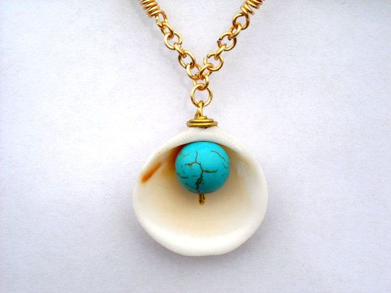 Sea Shell NecklaceBeach Jewelry  Beach by DesignbyTalarico on Etsy, $29.00