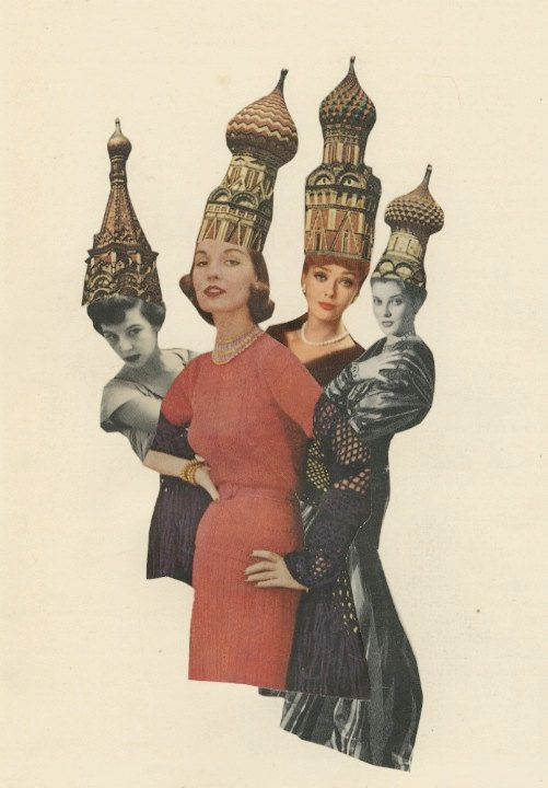 Red Square Fashion.   Limited edition print of an original collage by Vivienne Strauss.