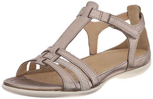 8b205bb8c62 Ecco Footwear Womens Flash T-Strap Gladiator Sandal, Warm Grey Metallic/Moon  Rock, 38 EU/7-7.5 M US ECCO