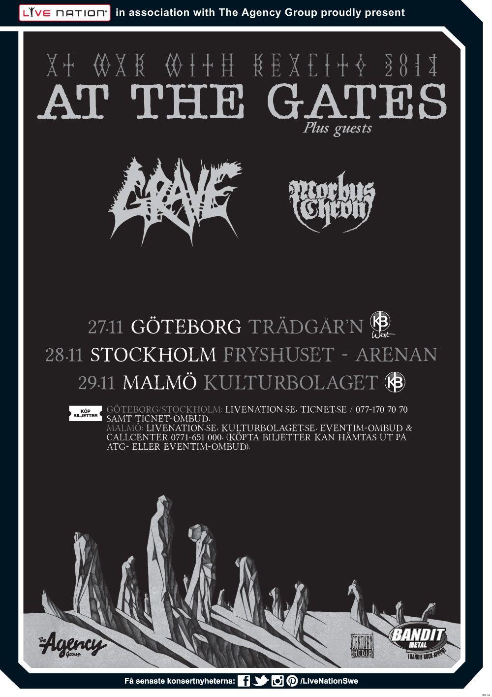 AT THE GATES | 27/11 Göteborg, Trädgår'n | 28/11 Stockholm, Arenan - Fryshuset | 29/11 Malmö, KB | #AtTheGates #Grave #MorbusChron #artwork