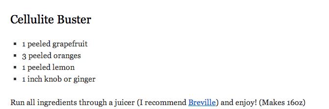 Cellulite Busting Juice