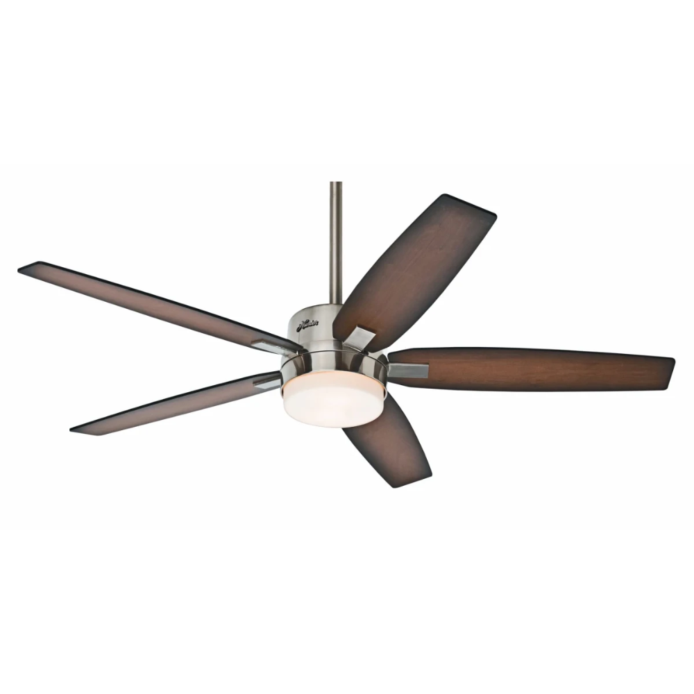 Hunter 59039 Brushed Nickel 54 Indoor Ceiling Fan 5 Reversible Blades Light Kit And Ceiling Fan With Light Brushed Nickel Ceiling Fan Hunter Ceiling Fans