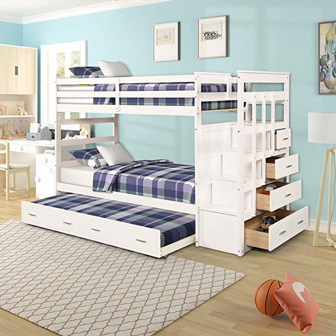 Stairway Twin Over Twin Bunk Bed with Drawers Natural