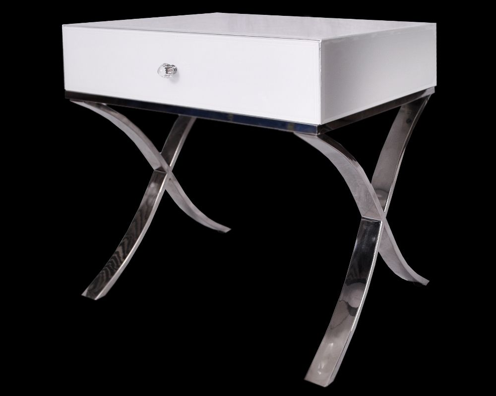 The Contemporary New Black Or White Gl Chrome Legs Barcelona Bedside Side Table Coveys Pure
