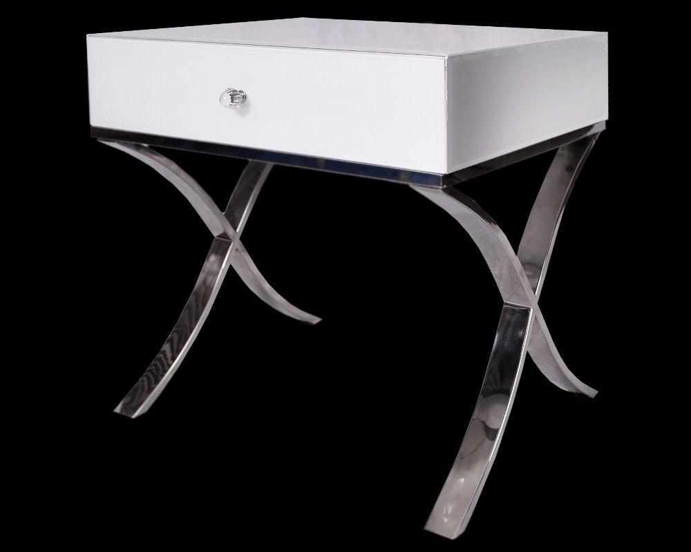The Contemporary New Black Or White Glass Chrome Legs Barcelona