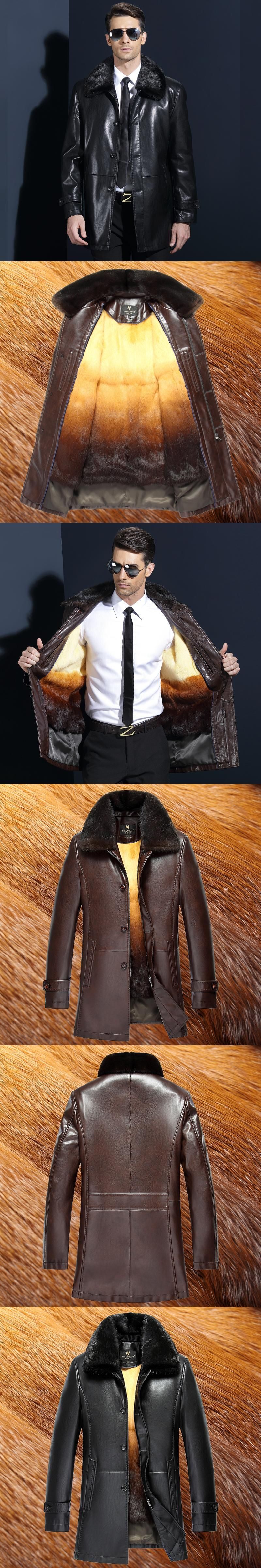 2018 Autumn Winter mink fur collar Faux Leather Fur Coat Men Warm Thick Long Sleeve High Quality Leather Jacket Fur Coats