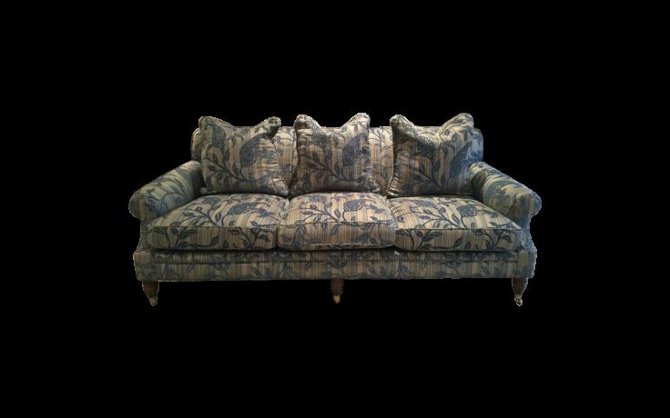 Flocked stripe three seat sofa