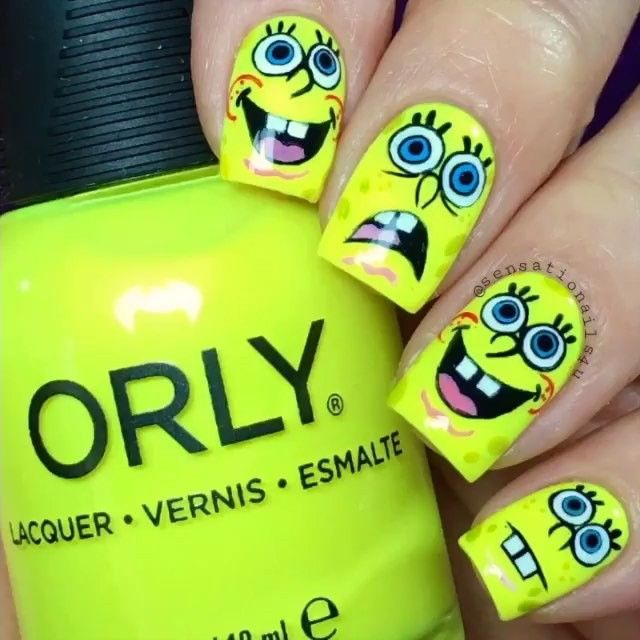 Spongebob nails by @sensationails4u Song: The Twin Sisters by ...